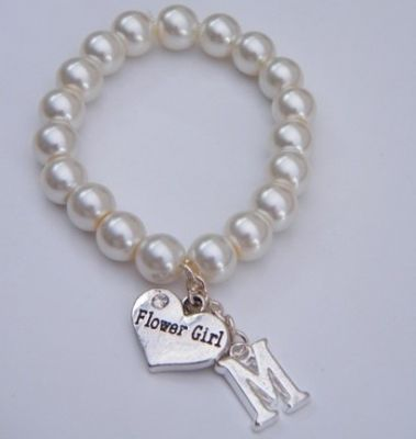 Flower Girl Initial Bracelet - Beaded Style